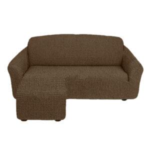 Угловой диван с выступом слева Бежевый
