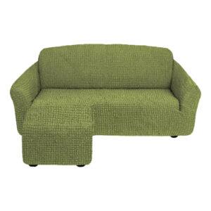 Угловой диван с выступом слева Оливковый