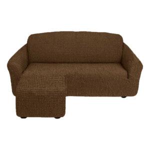 Угловой диван с выступом слева Шоколад
