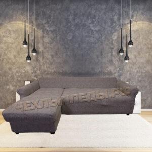 """Чехол на угловой диван с выступом слева """"Жаккард Волны"""" капучино"""