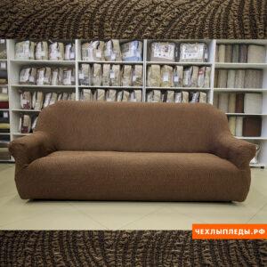 "Чехол на 2-х местный диван ""Жаккард Волна"" Шоколад"