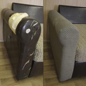 "Чехол на подлокотник дивана/кресла ""Жаккард Рогожка"" Капучино"